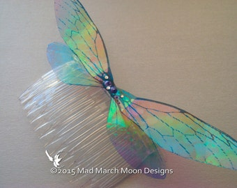 Large Rainbow Fairy Wing Hair Comb, iridescent rainbow hair accessory, woodland wedding elf hair