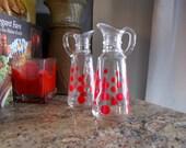 Fire King Red Polka Dot Cruets Anchor Hocking Glass