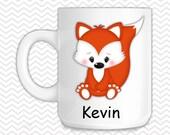 Fox Kids Mug - Personalized Fox Mug - Customized Mug - Melamine Cup - Personalized Kids cup