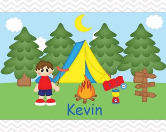 Customized Camping Boy Placemat - Personalized Camping Placemat for Boys - Camping Double Sided Laminated Placemat for Kids