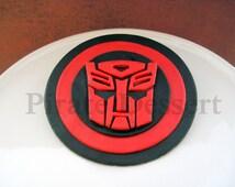 Edible TRANSFORMERS Cake Topper - AUTOBOTS LOGO - Autobots cake Topper -  Optimus Prime - Transformers Cake -  Fondant cake topper (1 piece)