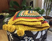 Hand made crochet afghan blanket granny square throw