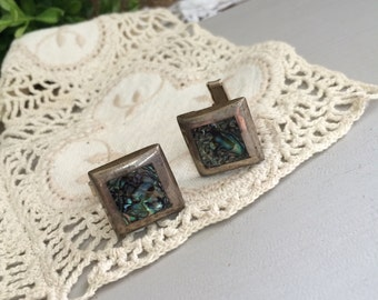 Abalone and Sterling Cufflinks