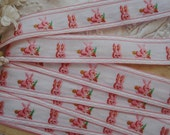 1y Vintage French Cotton Pink Bunny Rabbit Embroidered Novelty Jacquard Ribbon Trim Edging Doll Dress Easter Basket Woven Trim