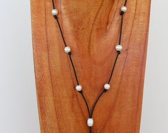 Pearls and Leather Long Lariat Necklace