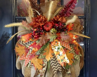 Fall Burlap Pumpkin Wreath