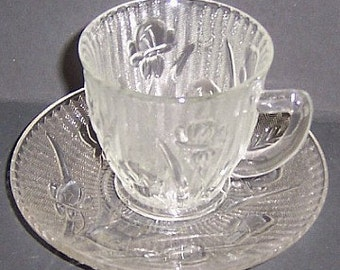 Jeannette Crystal IRIS and HERRINGBONE Demitasse Cup and Saucer - Scarce