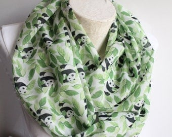 Panda Scarf, Wwf Panda Scarf, Leaves Infinity Scarf, Women Accessories, Gift İdeas