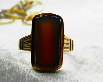 Victorian Ring Insignia Ring Antique Ring Agate Art Deco Gold Ring 14K Gold Ring