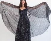 S.U.P.E.R SALE was 575 now 100 divine vintage 70's JEAN ALLEN British Boutique boned strapless chiffon print cape maxi dress gown