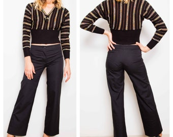 chic minimalist 80s/90s CHANEL cropped cotton tailored pants trousers