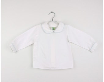 Long sleeve White cotton shirt with Peter pan collar and baby blue trim - Other trim colors available