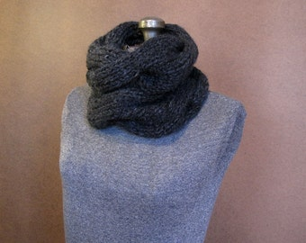 Dark Gray Chunky Cable Knit Cowl - The Harper - Charcoal