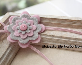 Felt flower headband-Light pink, Gray - Baby girl headband- Gift- Girl headband - Hair accessory - Toddler headband