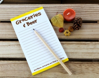 Groceries and Beer Funny Magnetic Grocery List, gift for boyfriend him drinkers office home party novelty yellow brown cool unique chic boss