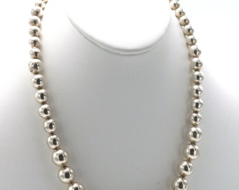 Vintage Sterling Silver Beaded Statement Necklace