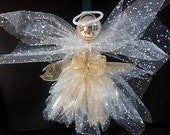 Angel, deco mesh angel, tree topper, Christmas decor
