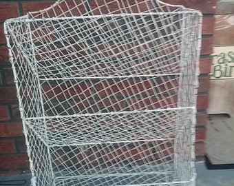 Shabby chic wire, shelf, rustic decor, storage, organize