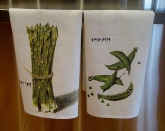 Set of Two Linen Kitchen Towels - Unique Veggie Kitchen Towels - Housewarming Towel Gift Set - Green & White Fancy Linen Gift Display Towels