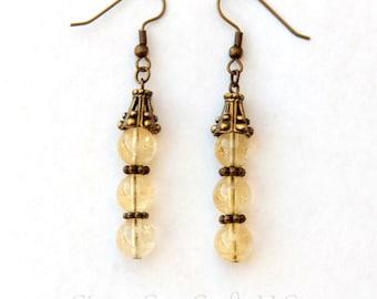 Citrine earrings, dangle earrings, handmade earrings, citrine stones, healing earrings