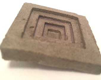 Inverted Mayan Pyramid Brutalist Concrete Brooch