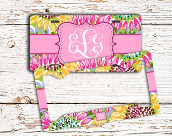 Monogrammed license plate or frame with Pink and yellow sunflowers, Cute auto decor, Preppy floral car decoration, Gifts for her (1681)