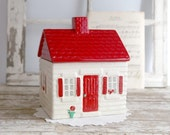 Vintage Cookie Jar, Nabisco Grandma's House Cookie Jar, Almost Home, White House Red Shutters Roof, Farmhouse Country Kitchen Decor