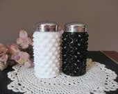 Fenton Black and White Hobnail Salt and Pepper Shakers  1950's Milk Glass