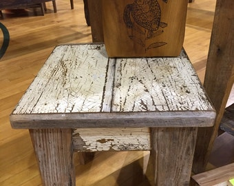 Side Table--distressed barn wood