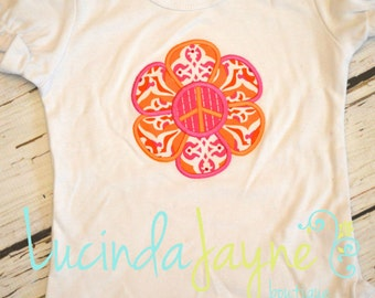 Peace Daisy Flower Applique Shirt
