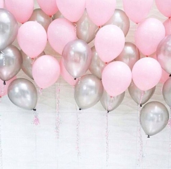 pink and silver baby shower balloons one year pink