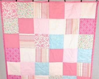 """Girl's Patchwork Quilt backed with Soft White Dot Minky  34""""x34""""  *Ready to Ship*"""