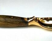 Ice cream scoop, Desert Ironwood burl handle, gold or chrome