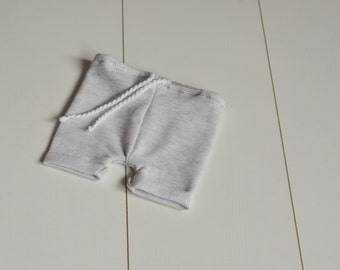 RTS shorts- 0-1 month baby photography prop Baby girl or boy pants rustic light grey OOAK