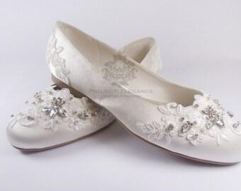 Nancy - Ivory Crystal & Lace Vintage Ballerina shoes or Heels - High Mid Kitten Heel Shoes