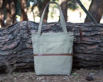 Waxed canvas tote bag - Canvas bag - Canvas shoulder bag - LARYS in Taupe