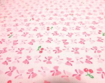 Japanese Fabric YUWA Minimini Ribbon Cherry BabyPink Fat Quarter