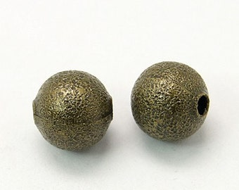 Bulk Beads Wholesale Beads Black Silver Beads Metal Beads 8mm Beads Bronze Beads Stardust 50 pieces