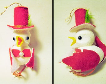 Felt and Flocked Bird Christmas Ornament - Vintage 1950s or 1960s - Mid Century Xmas Decorations / Red and White with Top Hat and Bowtie