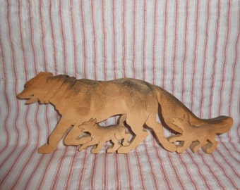 Wooden Wolf With Babies