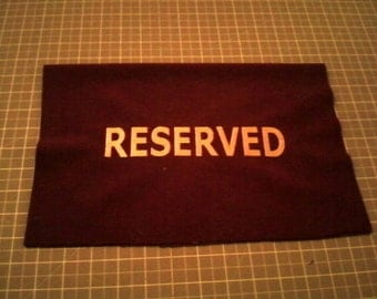 "Burgundy and Gold ""Reserved Embroidered"""
