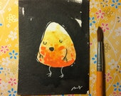"Halloween Watercolor Painting ""Bashful Candy Corn"" 3x4 inches decoration."