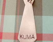 Necktie Pet Tag -  Handmade Artisan Custom Pet ID Unique Tie Masculine Charm Fashion