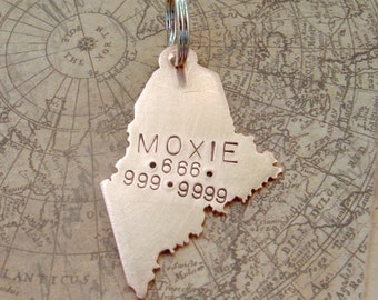 Maine State Pet Tag - choose any state -  Handmade Custom ID Stamped