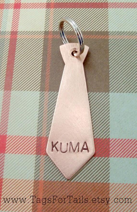 Necktie Pet Tag -  Handmade Artisan Custom Pet ID Unique Tie