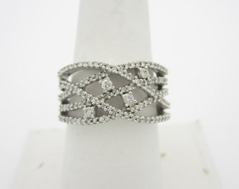 Love Over And Over 10k 1.25 ctw WHITE DIAMOND CROSSOVER Ring Size 8 1/2  r555 8.5
