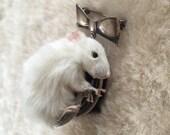 Taxidermy Kitten Mouse Brooch Sterling Silver