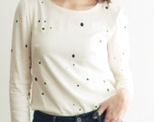 Off White Speckle Print Top