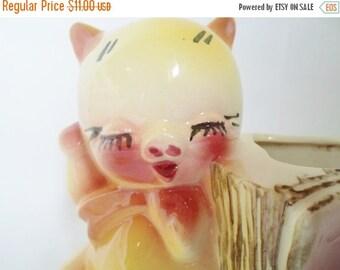 ON SALE Vintage Three Little Pigs Ceramic Planter  Child's Room