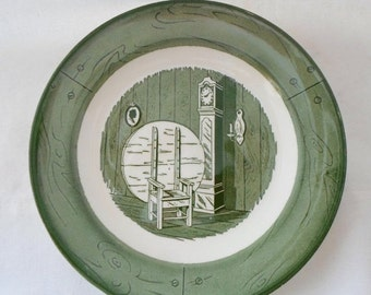ON SALE Vintage, Salad, Plate, Colonial Homestead, Green & White, Set of 3, Royal, USA, Cottage Chic, Serving